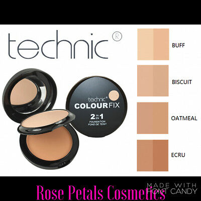 Technic Colour Fix 2 In 1 Pressed Powder & Cream Foundation Compact Make - Up