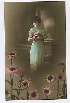 Young Edwardian Woman in Blue Dress with Flowers Vintage Real Photo Postcard 11