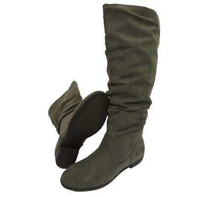 Womens Taupe Pull-On Ruched Tall Knee Calf Slouch Comfy Flat Boots Shoes 3-8