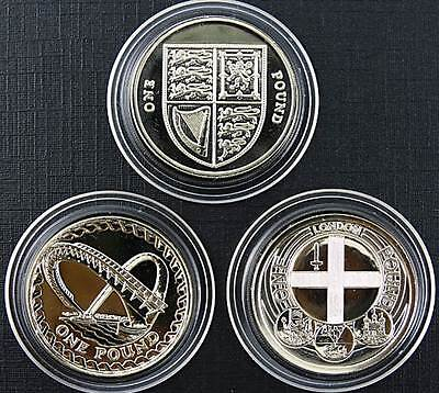 Royal Mint 1998 2007 & 2010 £1 Coin Set of 3 BU One Pound Coins
