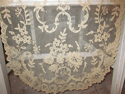 "Exquisite Antique H M Bought In France Tambour Lace Scallop Edge Long 55""runnerr"