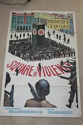 Original Movie Poster SQUARE OF VIOLENCE 1sh '63 Broderick Crawford WWII Nazi's