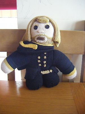 """Small 8"""" soft plush toy of knitted Zaphod Beeblebrox, from The Hitchhikers Guide"""