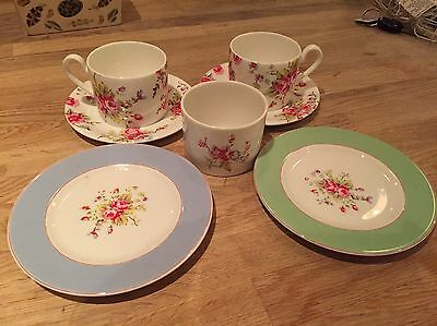 cath kidston Pair Of Cups Mugs Teacups With Saucers And Side Plates Sugar Bowl