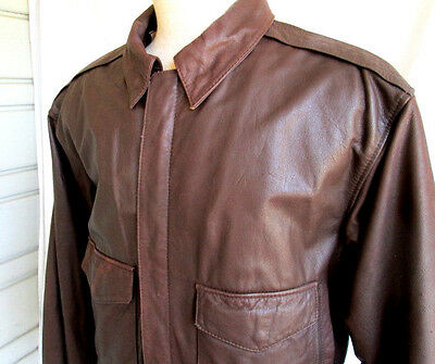 VTG 70's...G-111...BROWN...LEATHER...BOMBER...JACKET...sz SMALL