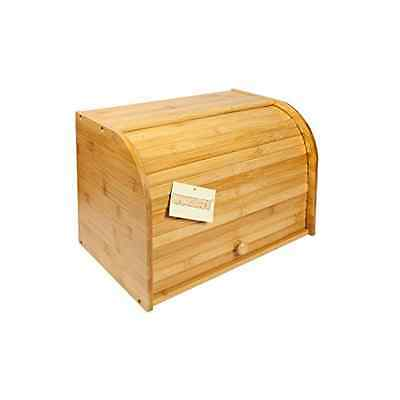 Woodluv Bamboo Double Decker 2 Layer Roll Top Wooden Bread Bin Kitchen Storage
