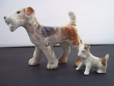 Schnauzer Setter Family Vintage Dog Figs~Female & Puppy FOREIGN Ceramic Xmas