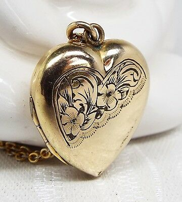 Vintage / 9ct Rolled Gold Ornate Engraved Love Heart Locket Necklace Chain
