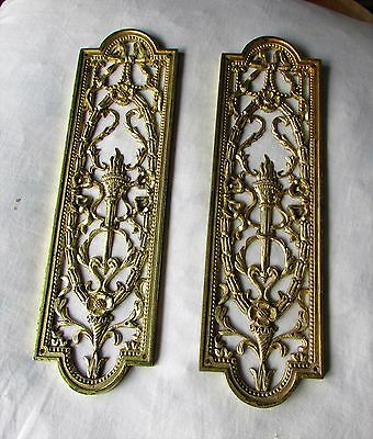 Pair of Decorative Antique Brass Finger Plates for a Door