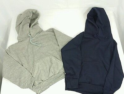 Vintage Youth Hoodie Lot of 2 Russell Athletic Gray Navy Rayon Dead Stock NWT