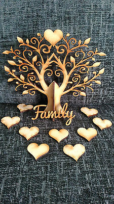 Family Tree Kit Set On Stand Heart Maker MDF Laser Cut Wooden Craft Blank