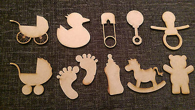 Wooden 3mm MDF Baby Nursery Craft Cards Decorations Scrapmaking  Embellishments