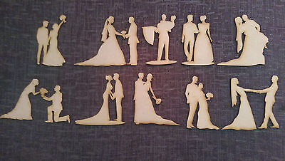 Wooden MDF Wedding Figures Embellishments Craft Scrapmaking Cards Decorations