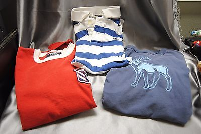 Nice Lot of Three Abercrombie Fitch size L Boys T & Polo shirts pre-owned Large