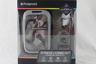 Polaroid Fitness Combo Kit Earbuds And Armband Set Grey In-Line Mic Nwt $40