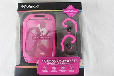Polaroid Fitness Combo Kit Earbuds And Armband Set Pink In-Line Mic Nwt $40