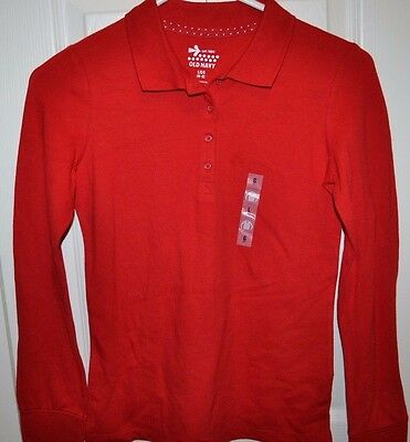 Nwt - Old Navy - Long Sleeve Polo / Rugby Shirt - Girls Large / 10-12 - Red