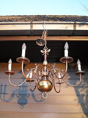 ***Very  Nice vintage 6  light Flemish chandelier.*** LOOK  at this 1 !!