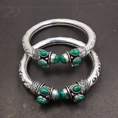 Wholesale Lot 2 pcs Malachite Stone 925 Sterling Silver Plated Unique Bangles