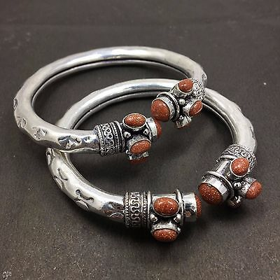 Wholesale Lot 2 pcs Orange Sun Stone 925 Sterling Silver Plated Unique Bangles