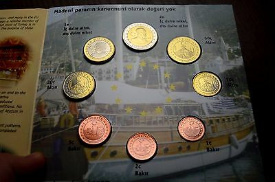 2004 Turkey Proof Coin Set Euro Pattern Collection Coins Europe Eu Union