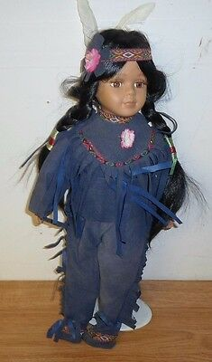 Cathay Rose Collection Porcelain Native American Indian Doll