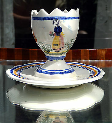 Henriot Quimper Faience Pottery : A novelty Egg Cup