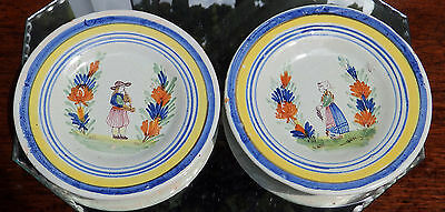 Antique Henriot Quimper / Malicorne Faience Pottery : Pair of small Plates