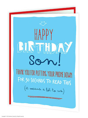 Son Birthday Greetings Card Funny Comedy Humour Witty Amusing Novelty Joke Phone