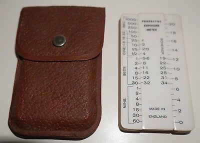 VINTAGE PERFECTUS EXPOSURE METER RARE WOODEN 1950's MADE IN ENGLAND JOHNSONS