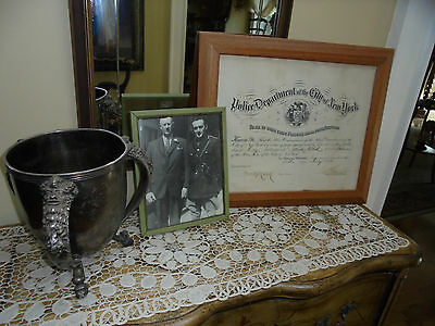 Antique Silverplate Trophy/Loving Cup ~ NYC PoliceTraffic Mens Outing Dated 1915