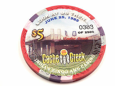 CACHE CREEK Indian Casino & Bingo $5 Chip Look at Us Then/Now 2004 Brooks CA