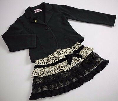 MONNALISA Black Jacket Animal Print Lace Diamonte Skirt 2 Pc Outfit Set 4 5 Year