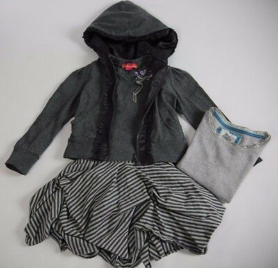 KATE MACK BISCOTTI Grey Jacket Skirt Tops X2 MINI BODEN 4 Pc Outfit Set 3 4 Year