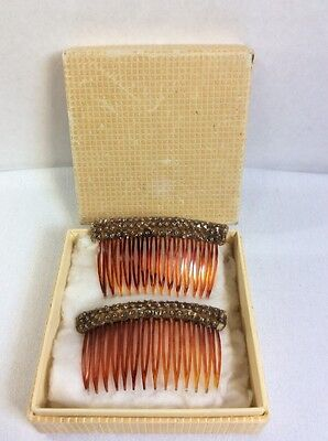 Vtg Art Deco Pair Of Hair Combs W/ Sequence Hair Jewelry
