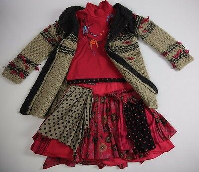 CATIMINI Wool Cardigan Jacket Red Black Polka Skirt Top 3 Pc Outfit Set 7 8 Year