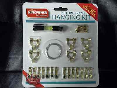 22 Piece Picture Frame Wall Hanging Kit Hooks Wire Nails Tacks Canvas Mirror