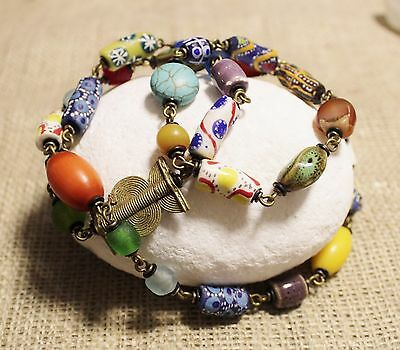 Long Colorful African Beaded Necklace, Unique Ethnic Jewelry Handmade African