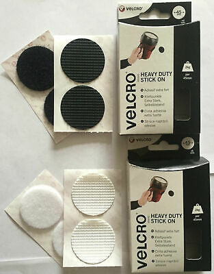6 Velcro® Heavy Duty Giant Coins Sticky Pads Fasteners Stick On 45mm Black/White