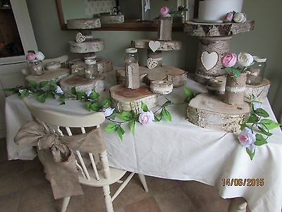 Rustic Wood Wedding Table centre pieces/cake stand displays