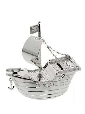 Silver Plated Pirate Ship Money Bank Box New Baby Boys Christening Gift