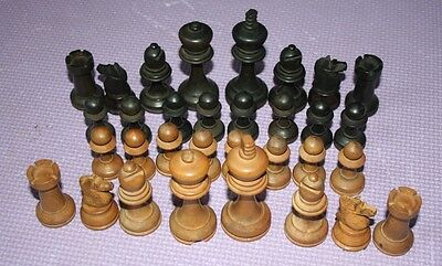 Antique wooden chess pieces
