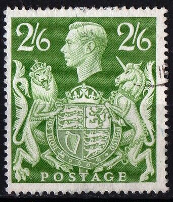 Great Britain King George VI 2/6d Yellow Green SG476b Very Fine Used.