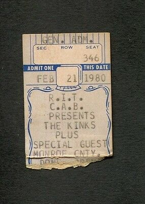 Original 1980 The Kinks concert ticket stub Monroe City  One For The Road Lola