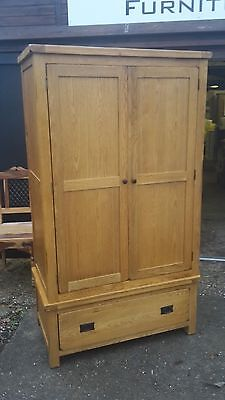 Solid Oak 2 Door Wardrobe With Drawer Delivery Avail