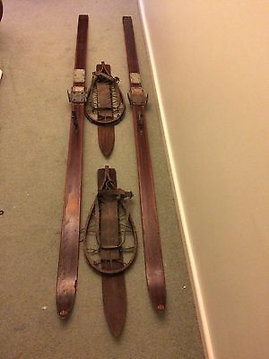 Vintage Wooden Skis And Matching Snow Shoes