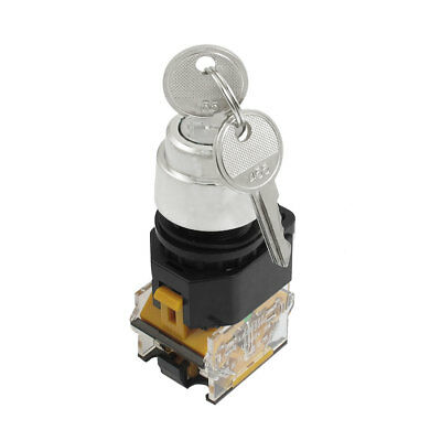 AC 380V 10A 22mm Thread 2 Position Keylock Rotary Selector Push Button Switch