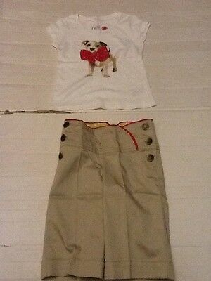 Girls Next Jack Russell Dog Outfit 4 Years Cropped Chino Trousers & Tshirt