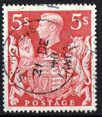 Great Britain King George VI 5/- Red SG477 Very Fine Used.