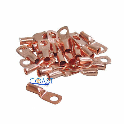 """Car Audio 8 Gauge AWG 1/4"""" Copper Wire Ring Terminal Connector CUR814 - 25 pcs"""